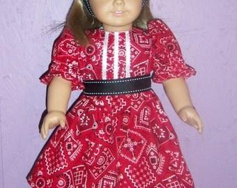 Handmade American Girl Outfit  Bandana Red new