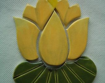 H1 - YELLOW LOTUS Flower w Lily Pad - Ceramic Mosaic Tile set