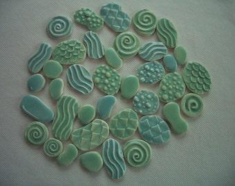 38T - LARGE 38 pc GORGEOUS Stamped Circles - Ceramic Mosaic Tile Set