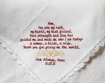 Strength and Love- Embroidered Wedding Lace Handkerchief Gift to Mom From Bride