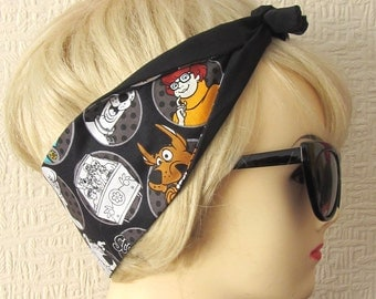 Scooby Doo Hair Tie Fabric Head Scarf by Dolly Cool Comic Book Strip Mystery Machine Halloween