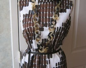 RESERVED Mod summer dress, Parade of New York size Small sleeveless dress, black brown white abstract print dress, retro Twiggy dress SM