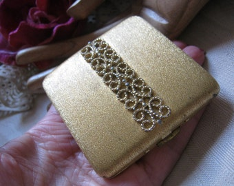 Vintage brushed goldtone mirror compact, ornate Avon golden textured mirror purse compact, hinged snap close goldtone mirror compact
