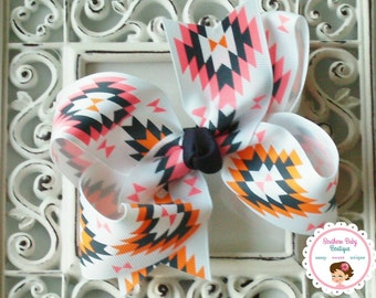 NEW----Boutique Large Hair Bow Clip or Headband----White Neon Santa fe Bow