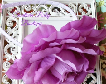 INVENTORY BLOWOUT SALE---Huge Rose Flower Headband---Lavender and Orchid