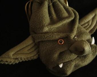 Dice Bag Goblin ORC Gift for RPG Gamer Long Eared Monster Drawstring Pouch for WoW Warhammer DnD Magic Gathering cards geek girl wristlet