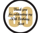 Personalized Stickers, 50th Birthday, Favor, Treat Bag, Thank you, Wedding, Bridal, Shower, Baby, Set of 60