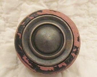 Antique wood Knob Large original worn finish