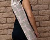 Handmade Yoga Mat Bag, yoga sling, yoga mat carrier, yoga sac, Pink and gray GIRAFFE with drawstring, cord lock and pocket, yoga sack