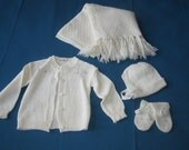 Vintage 1940s Unused Baby Girl Knit Clothing and Accessories 4 Pc Lot