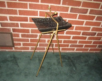 Vintage Mid Century Modern Wrought Iron and Black Pottery Smoking Stand Floor Ashtray