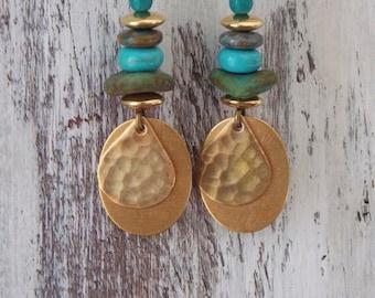 Brass Earrings Czech Glass Earrings Boho Bohemian Drop Earrings Copper Dangle Green Turquoise Rustic Woodland Gold Brass Earrings