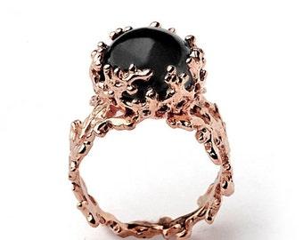 ON SALE - CORAL 14k Rose Gold Onyx Ring, Black Onyx Engagement Ring, Unique Rose Gold Ring, Rose Gold Engagement Ring, Rose Gold Statement R