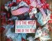 WONDERFUL TIME of YEAR wreath on light blue deco mesh wreath, ribbon- Christmas wreath, Winter Wreath