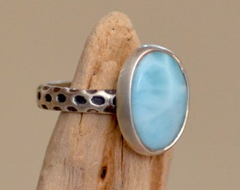 Larimar Ring. Sterling Silver.  AIRY BLUE Gemstone Ring. Ice Blue Silversmith Ring. Fine Jewelry. Gift For Her. Size: 6.0