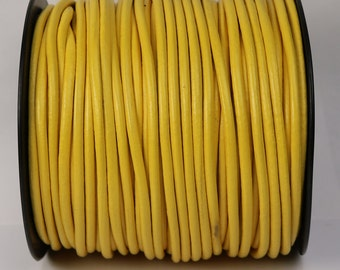 5 feet Yellow Leather Cord - 3mm Genuine Leather Round Cord - USA Seller