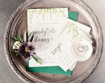 Simple Organic French Inspired Olive Leaf Wedding Invitation Suite • Green and White Custom Printable Stationery