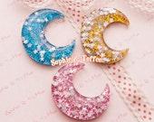 Super Glittery Confetti Moon Flatback Resin Cabochon - 6pc | Resin Cabochon Decoden Supplies Jewelry Making Flatback Resin Cabochon