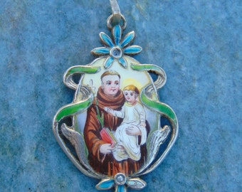STUNNING Saint Anthony and Jesus Art Nouveau Hand Painted Limoges Enamel Porcelain Sterling Silver Medal Catholic Religious