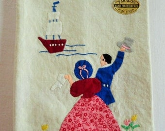 Paragon Victorian Couple Waving to a Ship Vintage Applique Tea Towel Dish Towel Hand Embroidered with Paragon Seal