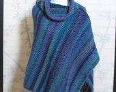 Womens Crochet Poncho Caribbean Blues Cowl Neck
