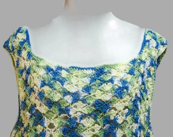 Women's Tank Top Blue and Green Cotton Crochet Sleeveless Top