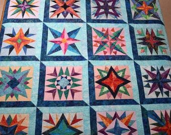 Queen Quilt Handmade Batik Patchwork Mariner's Compass Stars Quiltsy