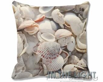 Shells - Lido Beach, Sarasota, FL - Fine Art Photography Pillow for home decor