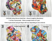 Custom Cotton Cloth Pads ~ Super Hero Prints ~ Choose Length & Absorbency ~ AP or Windpro fleece ~ Reusable Cloth Menstrual Pads, Custom Pad