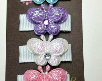 4 Pack-Itty Bitty Butterfly Set-Baby Hair Clip-Toddler Hair Clips-Fine Hair Clips-