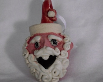 Pottery Santa Ornament, one of a kind