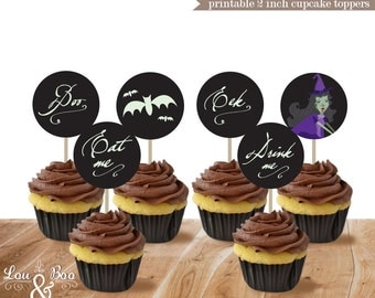Halloween 2 inch Printable Toppers - Wicked Witch halloween Instant Download