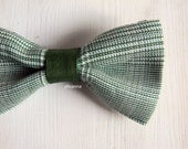 Men bow tie - Cotton and linen bowtie - Italian bowtie -  Pre tied bow tie - Made in Italy - Glen Plaid - Sage green, forest green.