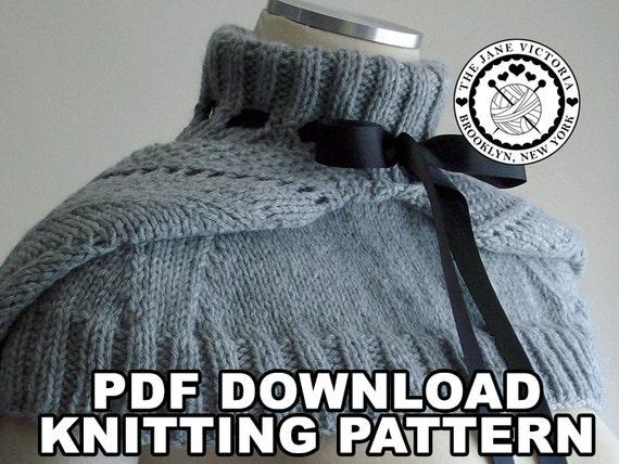 Hooded Mozzetta Knitting PATTERN, Silmarwen Surion, PDF DOWNLOAD
