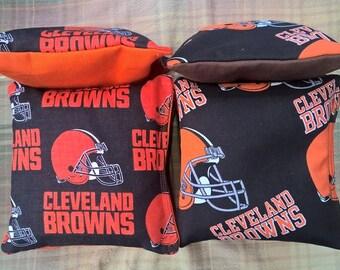 Cleveland Browns Fabric Cornhole Bags  - Free Shipping! Set of 8 Bags Baggo Bean Bag Set NFL