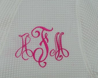 Personalized robe waffle weave knee length personalized Bride, Bridesmaid Robes Monogrammed robe, Name, Title, 15 Colors to choose from.
