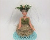 Handmade Holiday Forest Nymph Ornament Mushrooms Dried Moss One of a Kind