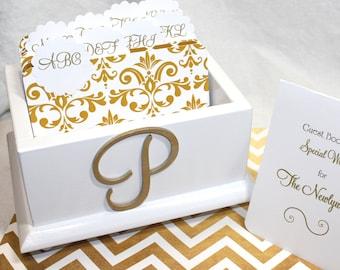 GUEST Book Box, Advice Box, Gold Dividers, Gold Wedding, White Box, Mongram Box, White Gloss Box, Gold Damask Dividers, Custom Color