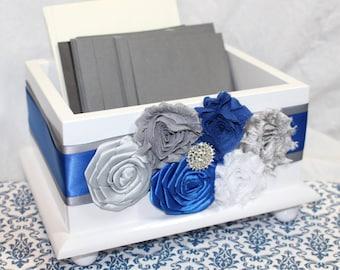 CARD BOX, Wedding Card Box, Royal Blue Card Box, Cobalt Blue Wedding, Royal Blue and Gray, Silver, White Card Box, Flowers, Custom colors