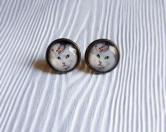 Cat Earrings Gifts for Cat Lovers White Cat Stud Earrings Pet Portrait Animal Jewelry Cute Jewelry Pet Photography - Lady Winkle