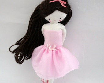 Ballerina rag doll -size pocket  plush toy cloth art doll, tutu pink pale tulle
