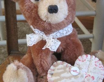 CAROLINE the Vintage Repurposed Handsome Valentine Bear