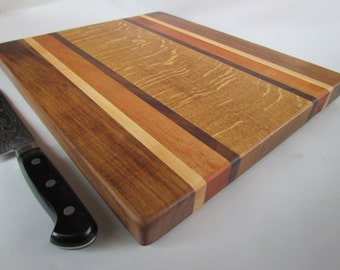 THICK Beautiful RECLAIMED Hardwoods LARGE Cutting Board Black Walnut, Maple, Mahogany and White Oak