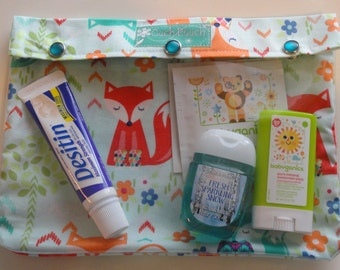 Foxes 7x9 Clear Front Diaper Bag Insert Organizer Ouch Pouch Meds First Aid Toiletries Stroller Bag Gear Baby Gift