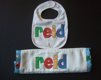 Personalized burp and bib gift set - appliqued in your choice of colors by Tried and True Designs on Etsy