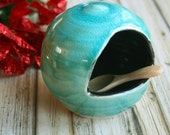Salt Pig Ceramic Salt Cellar in Turquoise Crackle and Black Glaze Stoneware Salt Keeper Handcrafted Made in USA Ready to Ship