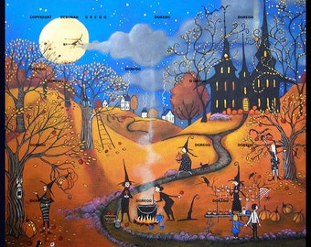 The Best Caramel Apples In Town  a small Halloween Witchs  Jack O Lanterns PRINT by Deborah Gregg