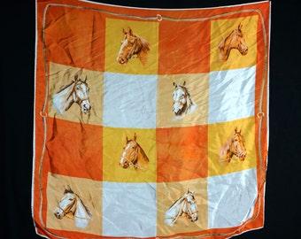 1960s Horse Print Scarf Wrap Bandana Handkerchief Orange Yellow Animal Cowboy