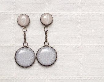 Boho Wedding earrings - Beige earrings - Botanical earrings - Boho jewelry - Long earrings - Neutral tones gewelry (E053)