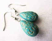 Teal and Gold Etched Lucite Drop Earrings